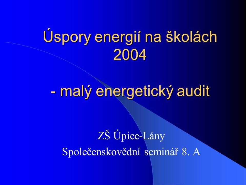 Úspory energií na školách 2004 Úspory energií na školách 2004 SEVER Horní Maršov