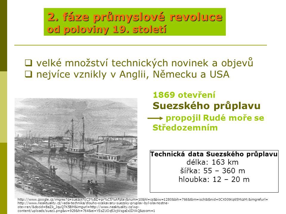 2. fáze průmyslové revoluce od poloviny 19. století  velké množství technických novinek a objevů  nejvíce vznikly v Anglii, Německu a USA 1869 otevř