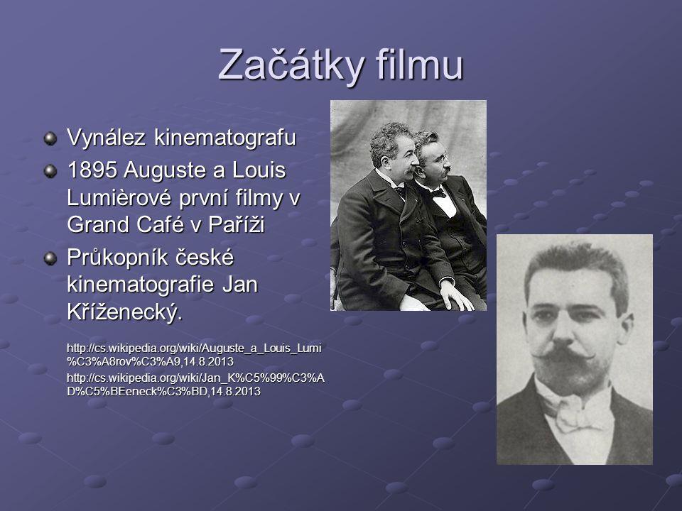 Začátky filmu Vynález kinematografu 1895 Auguste a Louis Lumièrové první filmy v Grand Café v Paříži Průkopník české kinematografie Jan Kříženecký. ht