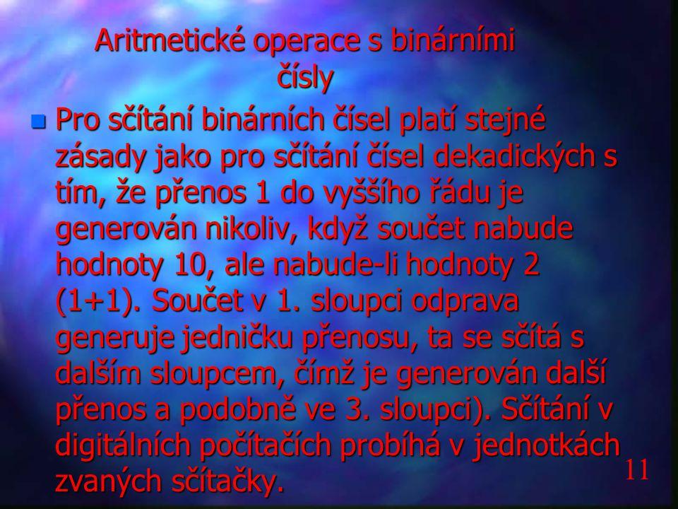 Aritmetické operace s binárními čísly n Pro sčítání binárních čísel platí stejné zásady jako pro sčítání čísel dekadických s tím, že přenos 1 do vyšší