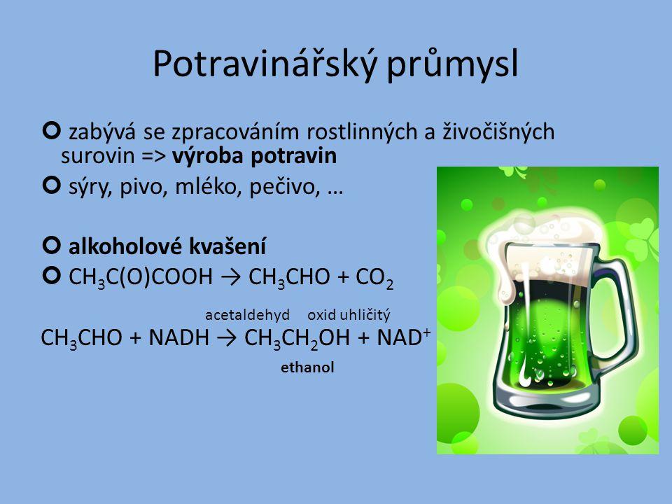 Potravinářský průmysl zabývá se zpracováním rostlinných a živočišných surovin => výroba potravin sýry, pivo, mléko, pečivo, … alkoholové kvašení CH 3 C(O)COOH → CH 3 CHO + CO 2 acetaldehyd oxid uhličitý CH 3 CHO + NADH → CH 3 CH 2 OH + NAD + ethanol