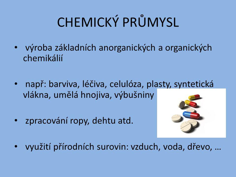 CHEMICKÝ PRŮMYSL výroba základních anorganických a organických chemikálií např: barviva, léčiva, celulóza, plasty, syntetická vlákna, umělá hnojiva, výbušniny zpracování ropy, dehtu atd.