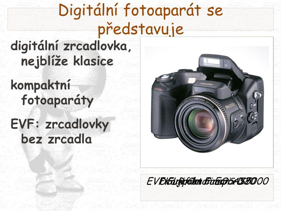 Digitální fotoaparát se představuje digitální zrcadlovka, nejblíže klasice kompaktní fotoaparáty EVF: zrcadlovky bez zrcadla DSLR Canon EOS D20Kompakt Canon A75EVF Fujifilm Finepix S7000