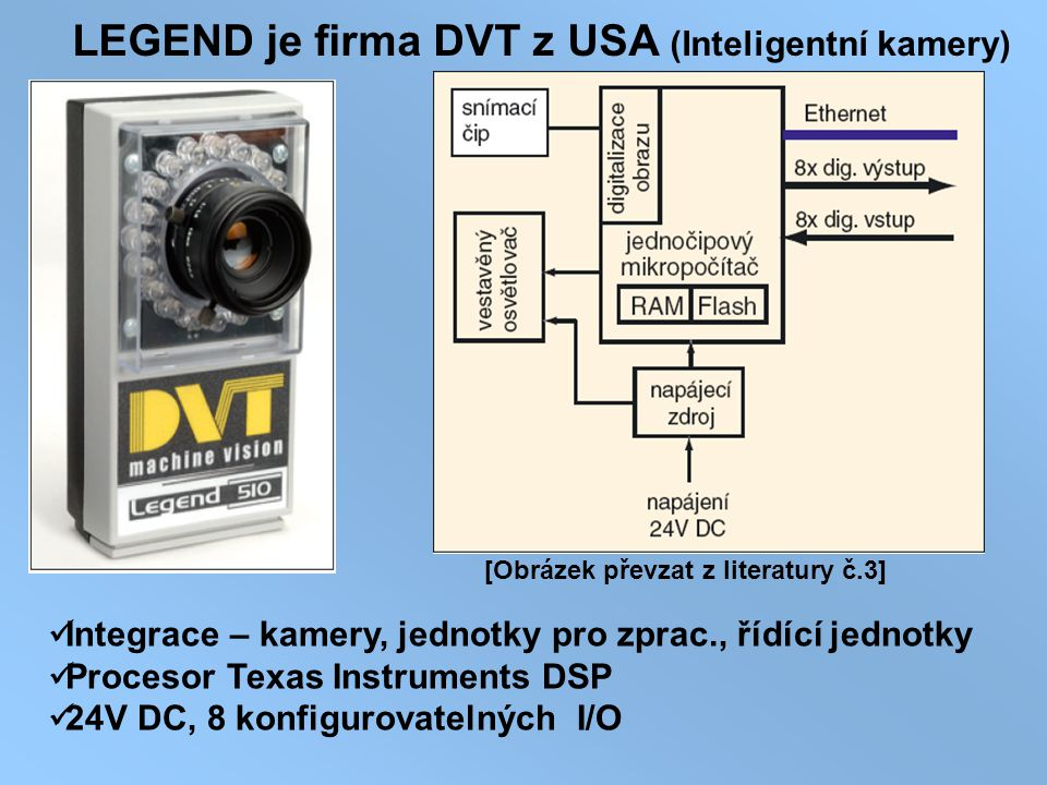 LEGEND je firma DVT z USA (Inteligentní kamery) Integrace – kamery, jednotky pro zprac., řídící jednotky Procesor Texas Instruments DSP 24V DC, 8 konf