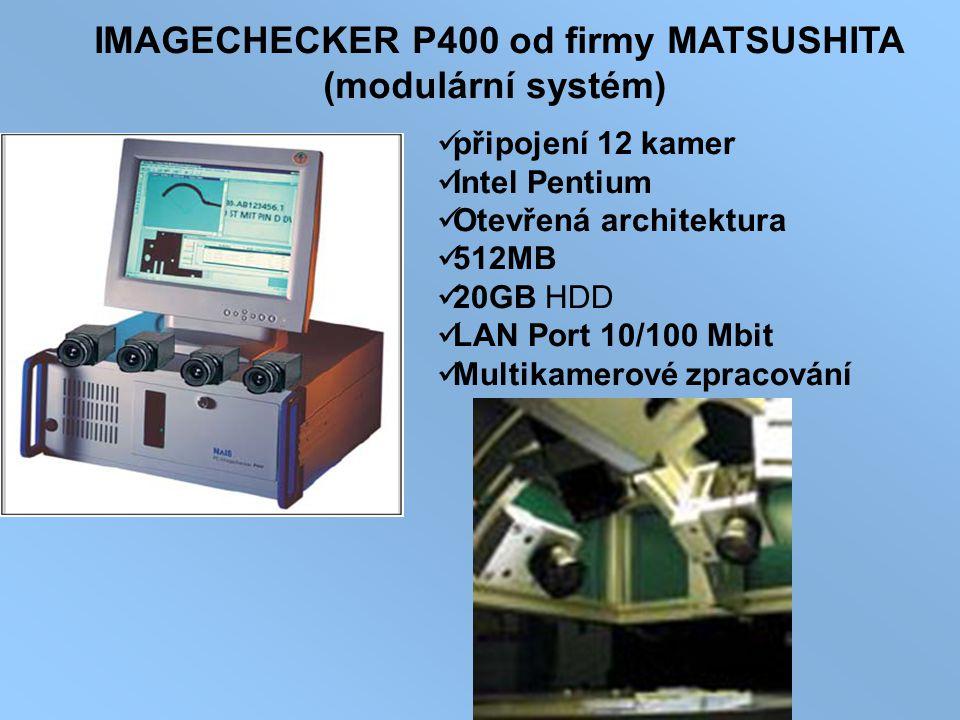IMAGECHECKER P400 od firmy MATSUSHITA (modulární systém) připojení 12 kamer Intel Pentium Otevřená architektura 512MB 20GB HDD LAN Port 10/100 Mbit Mu