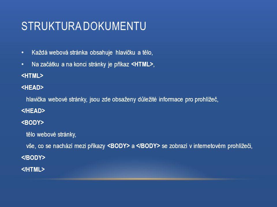 STRUKTURA DOKUMENTU Každá webová stránka obsahuje hlavičku a tělo, Na začátku a na konci stránky je příkaz, hlavička webové stránky, jsou zde obsaženy