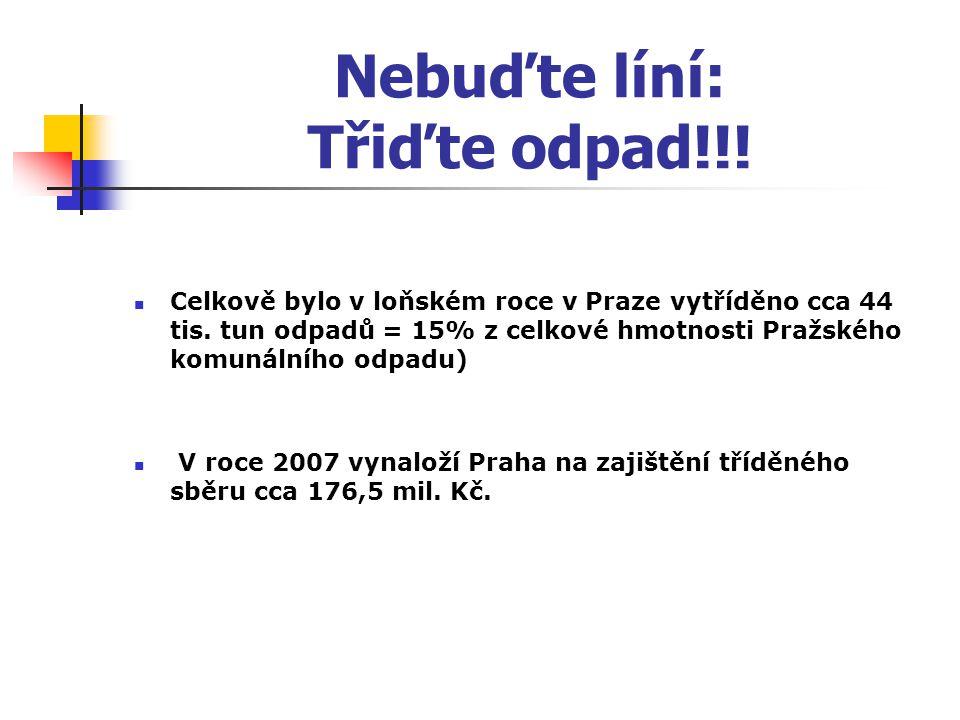 Nebuďte líní: Třiďte odpad!!! Celkově bylo v loňském roce v Praze vytříděno cca 44 tis. tun odpadů = 15% z celkové hmotnosti Pražského komunálního odp