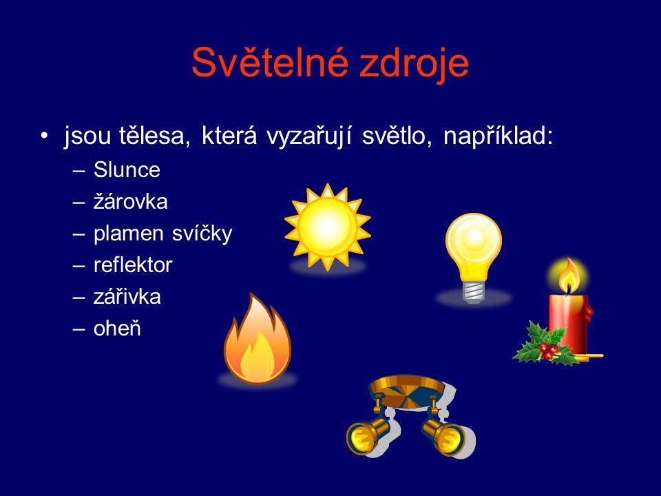 Světelné zdroje jsou tělesa, která vyzařují světlo, například: –Slunce –žárovka –plamen svíčky –reflektor –zářivka –oheň