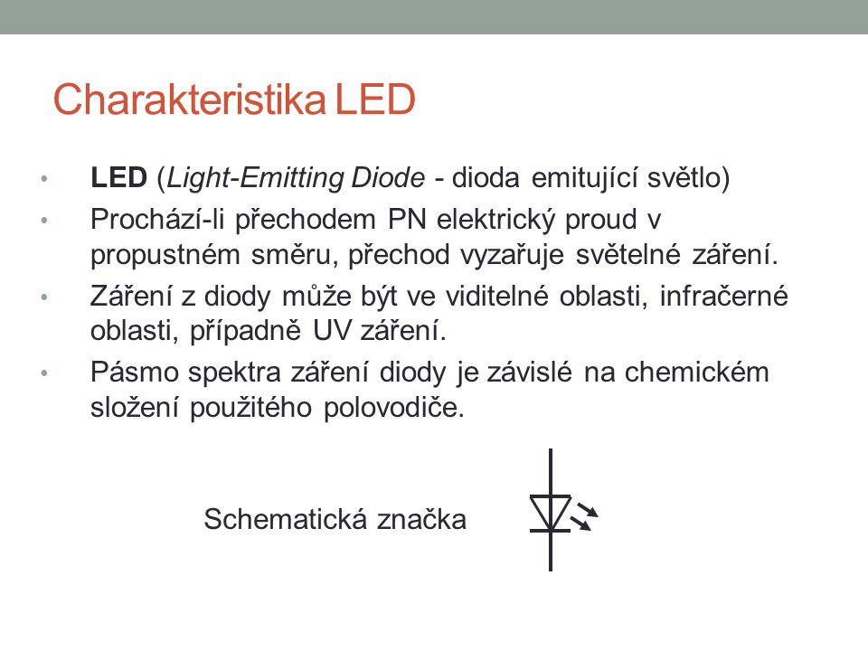 Charakteristika LED LED (Light-Emitting Diode - dioda emitující světlo) Prochází-li přechodem PN elektrický proud v propustném směru, přechod vyzařuje