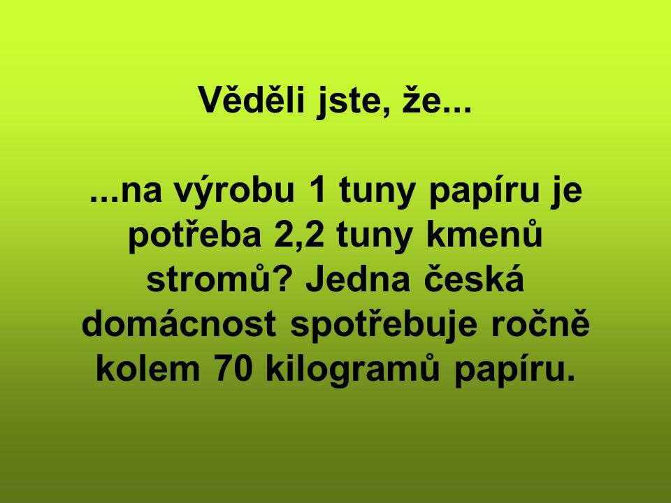 Věděli jste, že......na výrobu 1 tuny papíru je potřeba 2,2 tuny kmenů stromů? Jedna česká domácnost spotřebuje ročně kolem 70 kilogramů papíru.