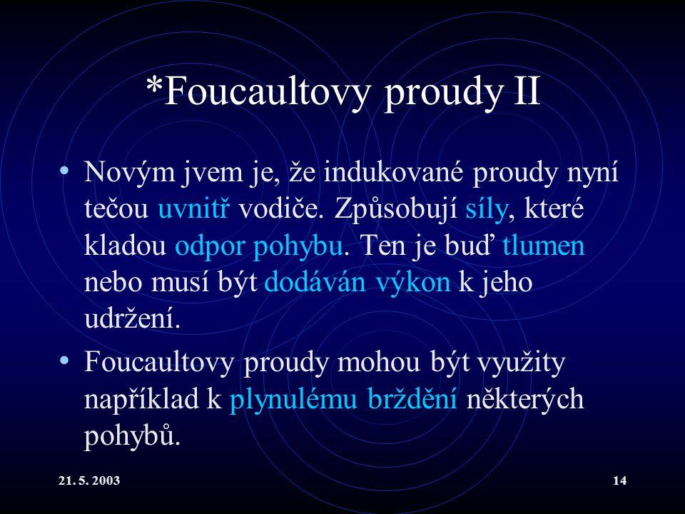 21.5. 200314 *Foucaultovy proudy II Novým jvem je, že indukované proudy nyní tečou uvnitř vodiče.