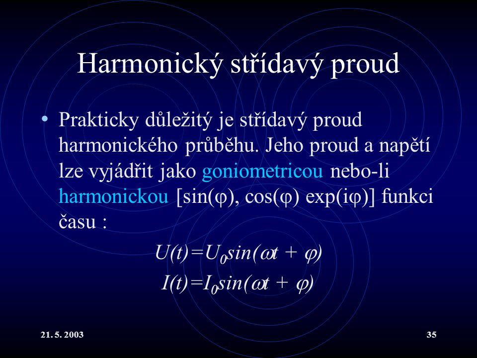 21.5. 200335 Harmonický střídavý proud Prakticky důležitý je střídavý proud harmonického průběhu.