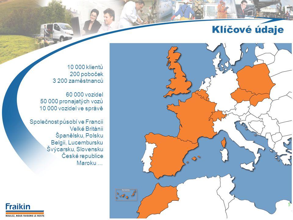 Klíčové údaje 10 000 klientů 200 poboček 3 200 zaměstnanců 60 000 vozidel 50 000 pronajatých vozů 10 000 vozidel ve správě Společnost působí ve Franci