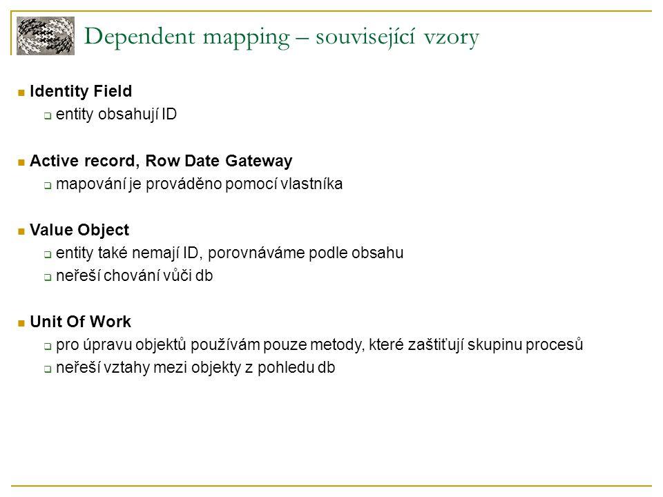 Dependent mapping – související vzory Identity Field  entity obsahují ID Active record, Row Date Gateway  mapování je prováděno pomocí vlastníka Value Object  entity také nemají ID, porovnáváme podle obsahu  neřeší chování vůči db Unit Of Work  pro úpravu objektů používám pouze metody, které zaštiťují skupinu procesů  neřeší vztahy mezi objekty z pohledu db