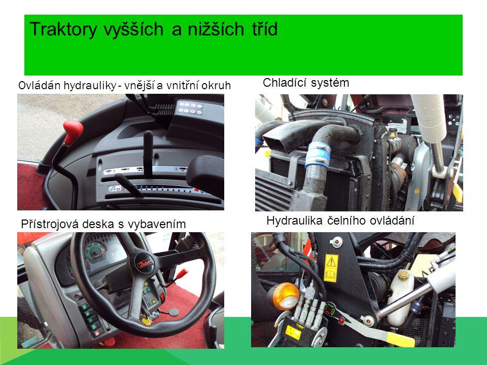 Traktory vyšších a nižších tříd Ovládán hydrauliky - vnější a vnitřní okruh Chladící systém Přístrojová deska s vybavením Hydraulika čelního ovládání