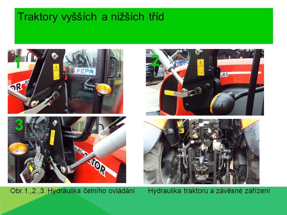 Traktory vyšších a nižších tříd Hydraulika traktoru a závěsné zařízeníObr.1.,2.,3. Hydraulika čelního ovládání 1 2 3