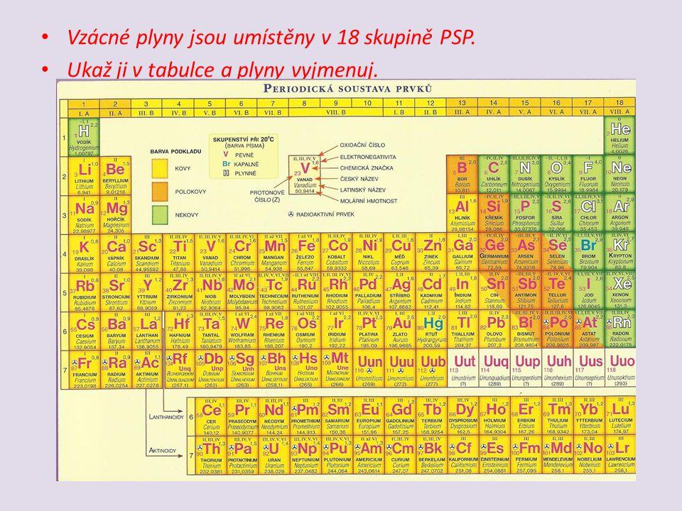 Vzácné plyny jsou umístěny v 18 skupině PSP. Ukaž ji v tabulce a plyny vyjmenuj.