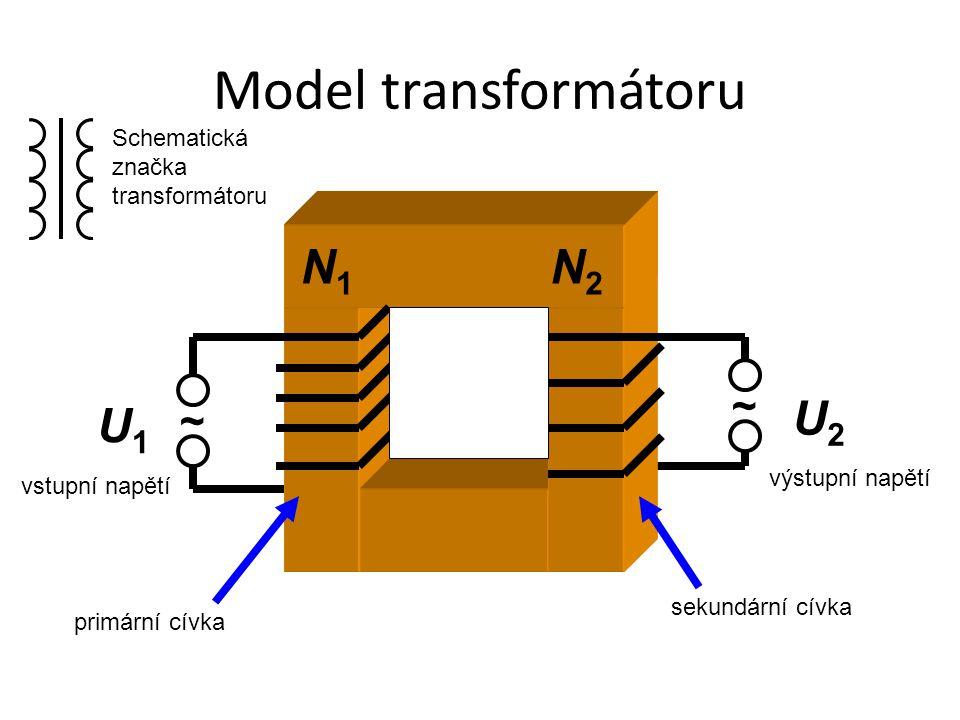 Model transformátoru ~ ~ U1U1 U2U2 vstupní napětí výstupní napětí primární cívka sekundární cívka N1N1 N2N2 Schematická značka transformátoru