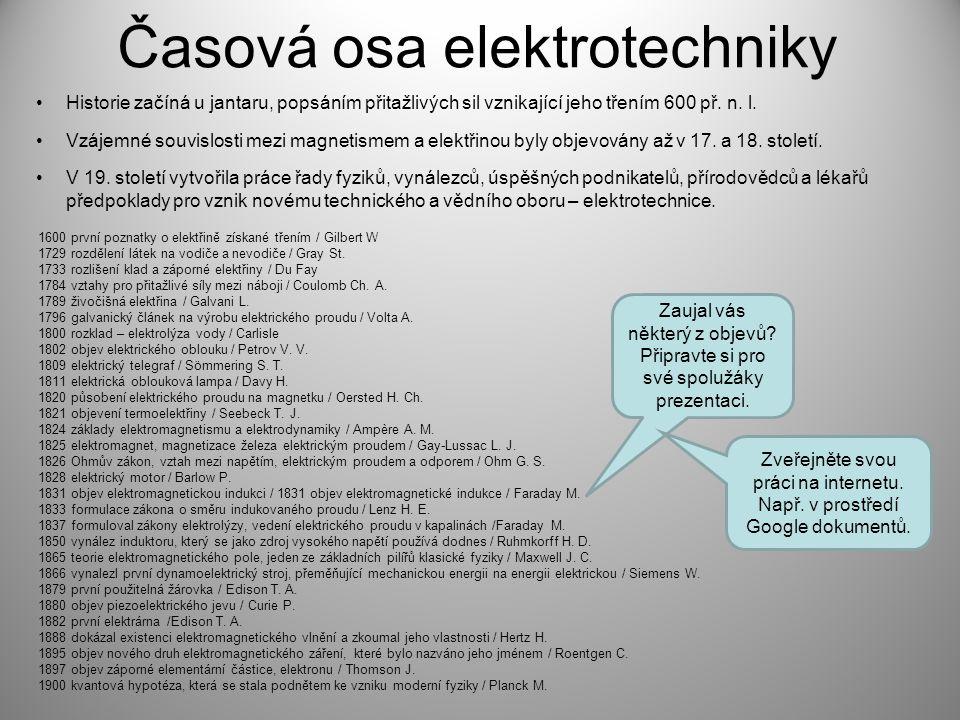 Časová osa elektrotechniky Vzájemné souvislosti mezi magnetismem a elektřinou byly objevovány až v 17. a 18. století. V 19. století vytvořila práce řa