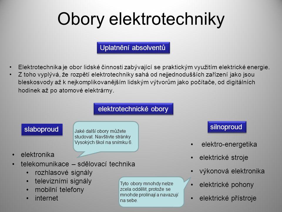 Obory elektrotechniky Elektrotechnika je obor lidské činnosti zabývající se praktickým využitím elektrické energie. Z toho vyplývá, že rozpětí elektro