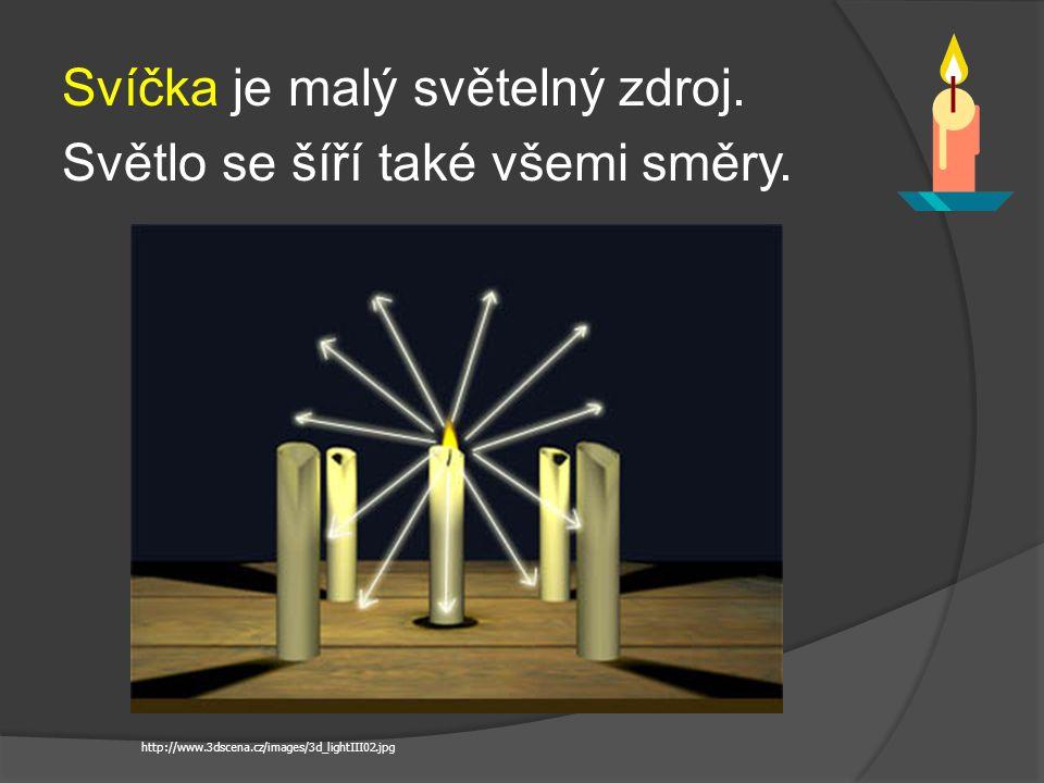 Svíčka je malý světelný zdroj. Světlo se šíří také všemi směry. http://www.3dscena.cz/images/3d_lightIII02.jpg