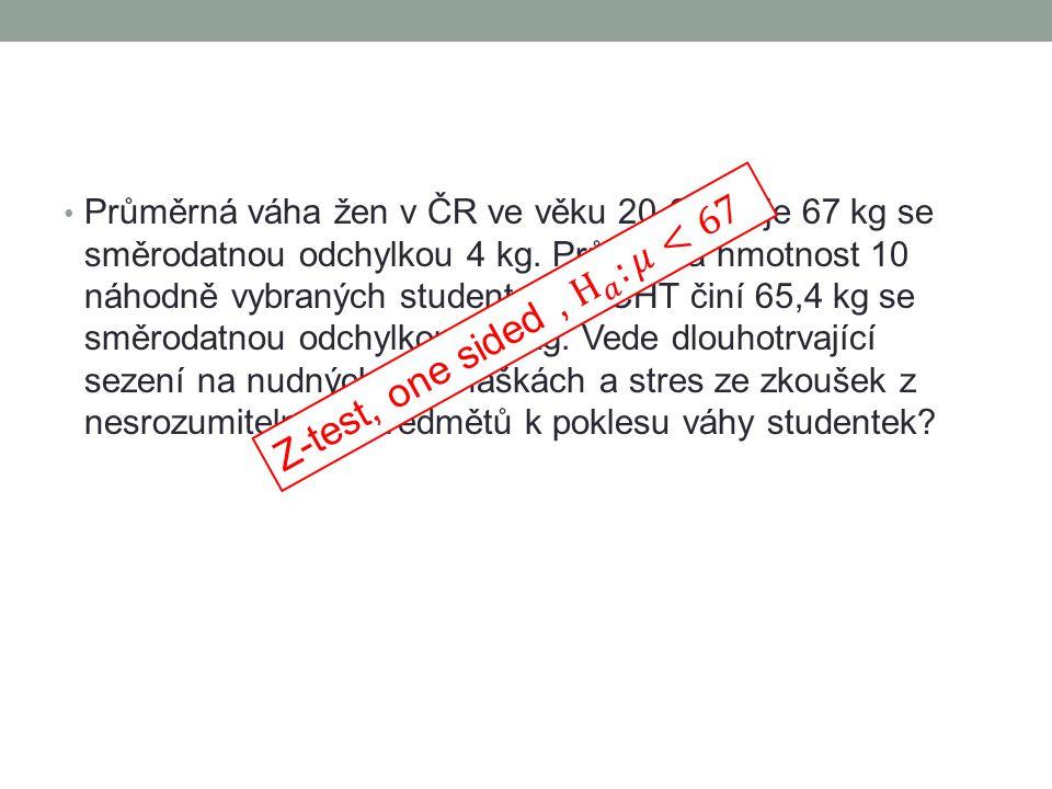 Průměrná váha žen v ČR ve věku 20-25 let je 67 kg se směrodatnou odchylkou 4 kg.