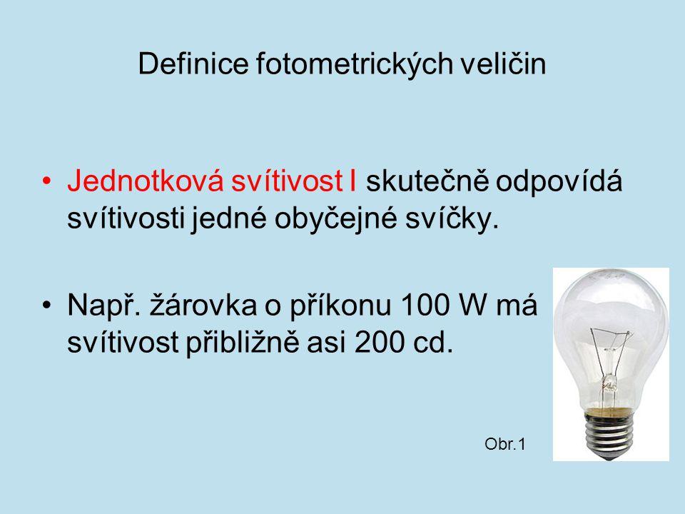 Definice fotometrických veličin Jednotková svítivost I skutečně odpovídá svítivosti jedné obyčejné svíčky. Např. žárovka o příkonu 100 W má svítivost