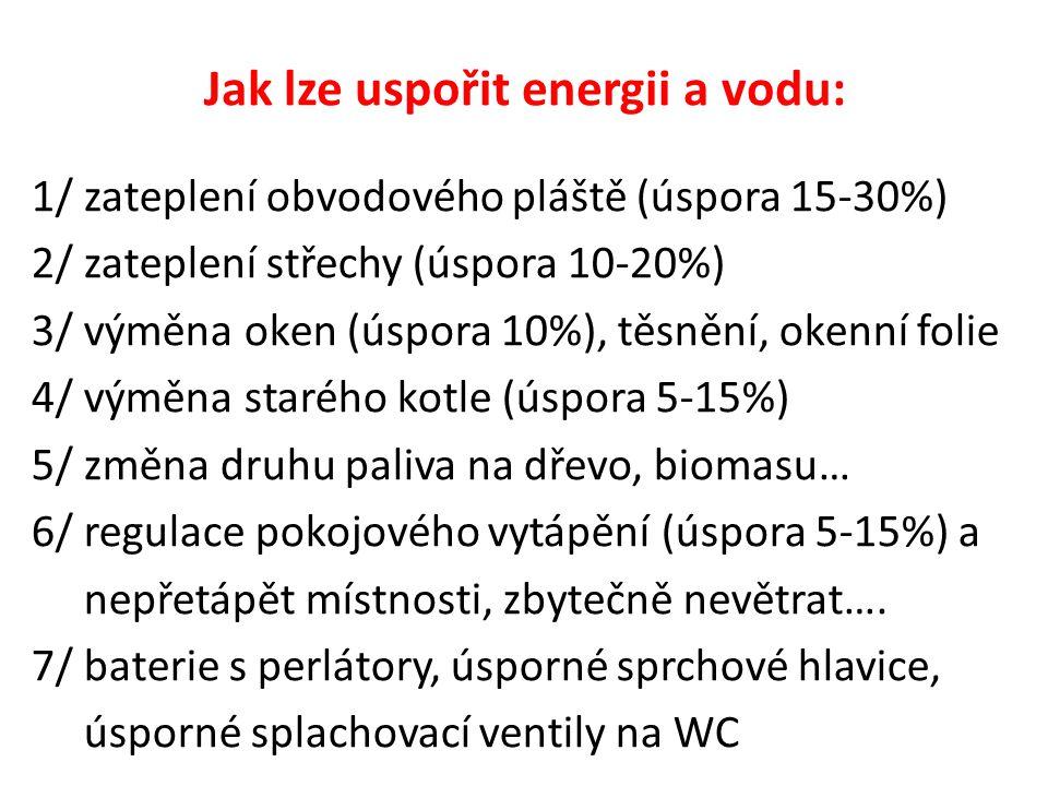Jak lze uspořit energii a vodu: 1/ zateplení obvodového pláště (úspora 15-30%) 2/ zateplení střechy (úspora 10-20%) 3/ výměna oken (úspora 10%), těsnění, okenní folie 4/ výměna starého kotle (úspora 5-15%) 5/ změna druhu paliva na dřevo, biomasu… 6/ regulace pokojového vytápění (úspora 5-15%) a nepřetápět místnosti, zbytečně nevětrat….