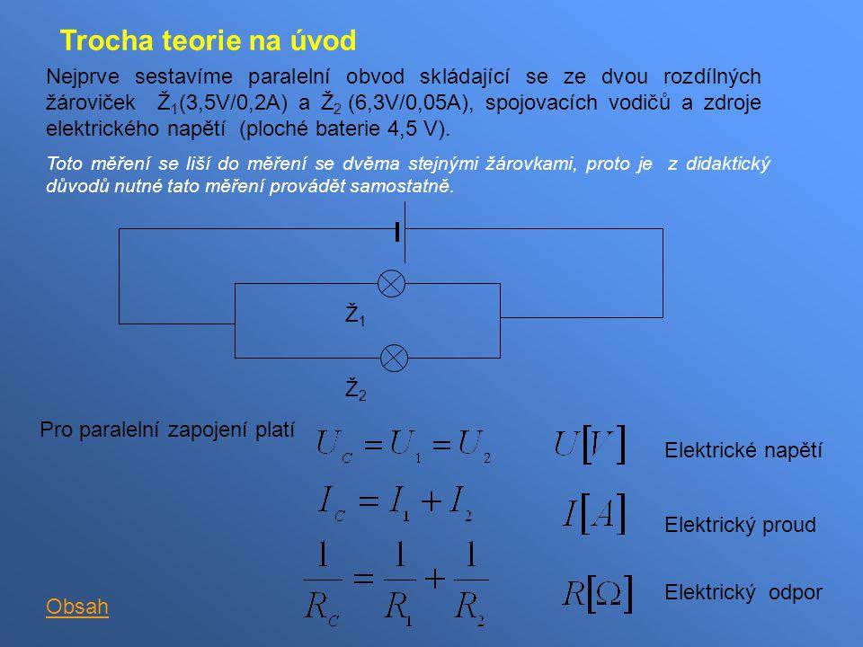 Trocha teorie na úvod Nejprve sestavíme paralelní obvod skládající se ze dvou rozdílných žároviček Ž 1 (3,5V/0,2A) a Ž 2 (6,3V/0,05A), spojovacích vod