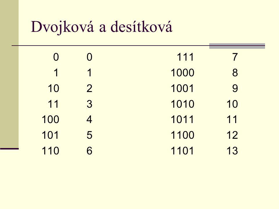 Dvojková a desítková 00 111 7 111000 8 1021001 9 113101010 1004101111 1015110012 1106110113