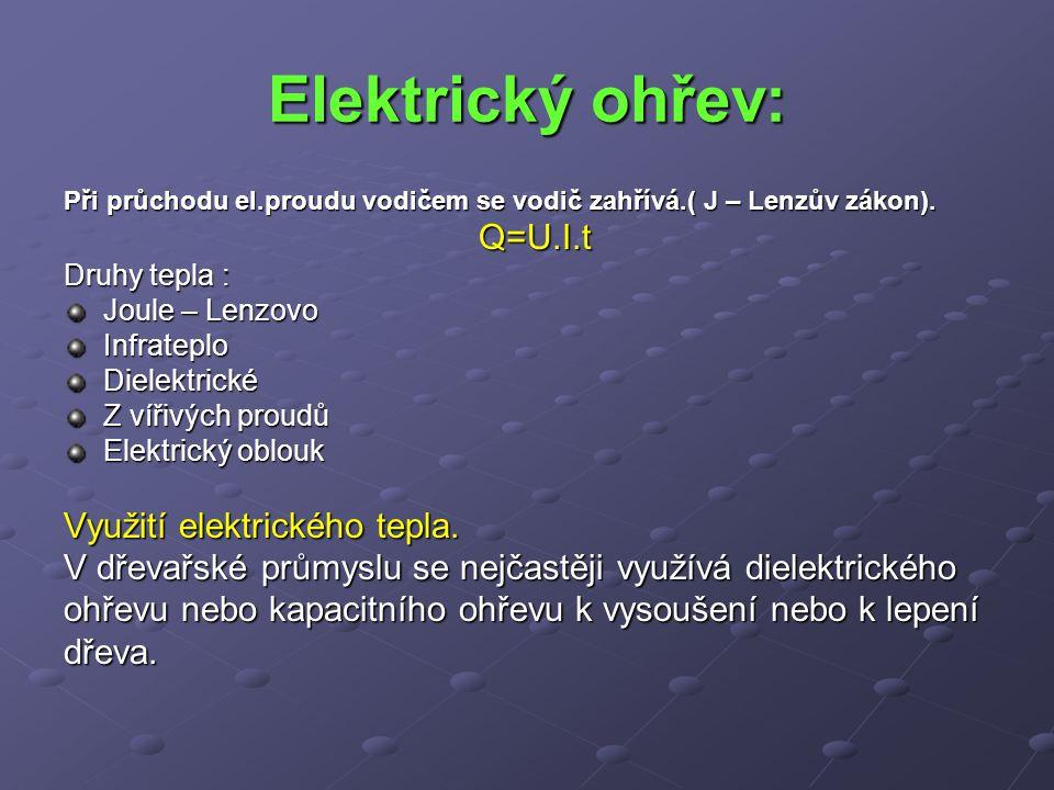 Elektrický ohřev: Při průchodu el.proudu vodičem se vodič zahřívá.( J – Lenzův zákon). Q=U.I.t Druhy tepla : Joule – Lenzovo InfrateploDielektrické Z