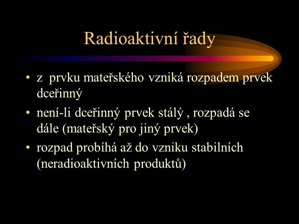 Radioaktivní řady z prvku mateřského vzniká rozpadem prvek dceřinný není-li dceřinný prvek stálý, rozpadá se dále (mateřský pro jiný prvek) rozpad pro