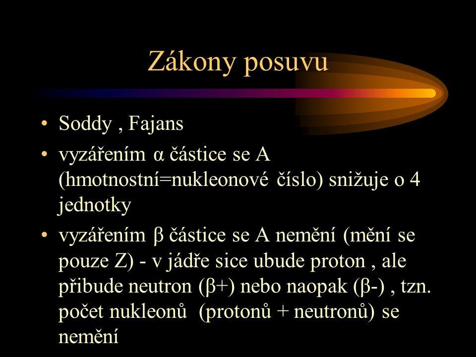 Zákony posuvu Soddy, Fajans vyzářením α částice se A (hmotnostní=nukleonové číslo) snižuje o 4 jednotky vyzářením β částice se A nemění (mění se pouze