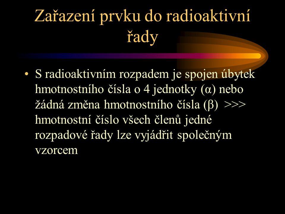 Zařazení prvku do radioaktivní řady S radioaktivním rozpadem je spojen úbytek hmotnostního čísla o 4 jednotky (α) nebo žádná změna hmotnostního čísla