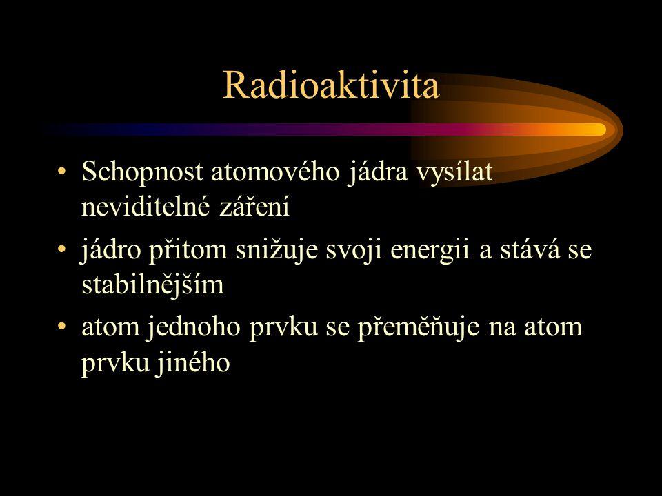 Radioaktivita Schopnost atomového jádra vysílat neviditelné záření jádro přitom snižuje svoji energii a stává se stabilnějším atom jednoho prvku se př