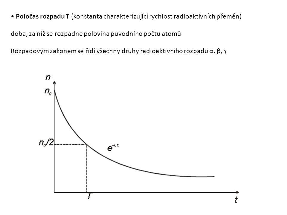 Poločas rozpadu T (konstanta charakterizující rychlost radioaktivních přeměn) doba, za níž se rozpadne polovina původního počtu atomů Rozpadovým zákonem se řídí všechny druhy radioaktivního rozpadu α, β, 