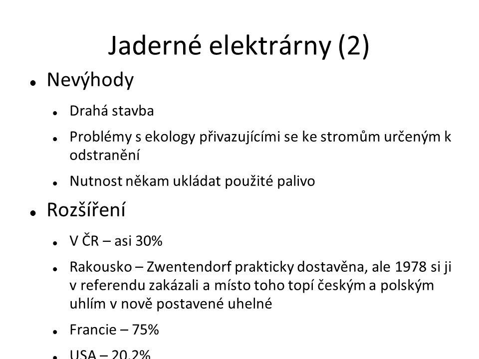 Jaderné elektrárny (2) Nevýhody Drahá stavba Problémy s ekology přivazujícími se ke stromům určeným k odstranění Nutnost někam ukládat použité palivo Rozšíření V ČR – asi 30% Rakousko – Zwentendorf prakticky dostavěna, ale 1978 si ji v referendu zakázali a místo toho topí českým a polským uhlím v nově postavené uhelné Francie – 75% USA – 20,2%