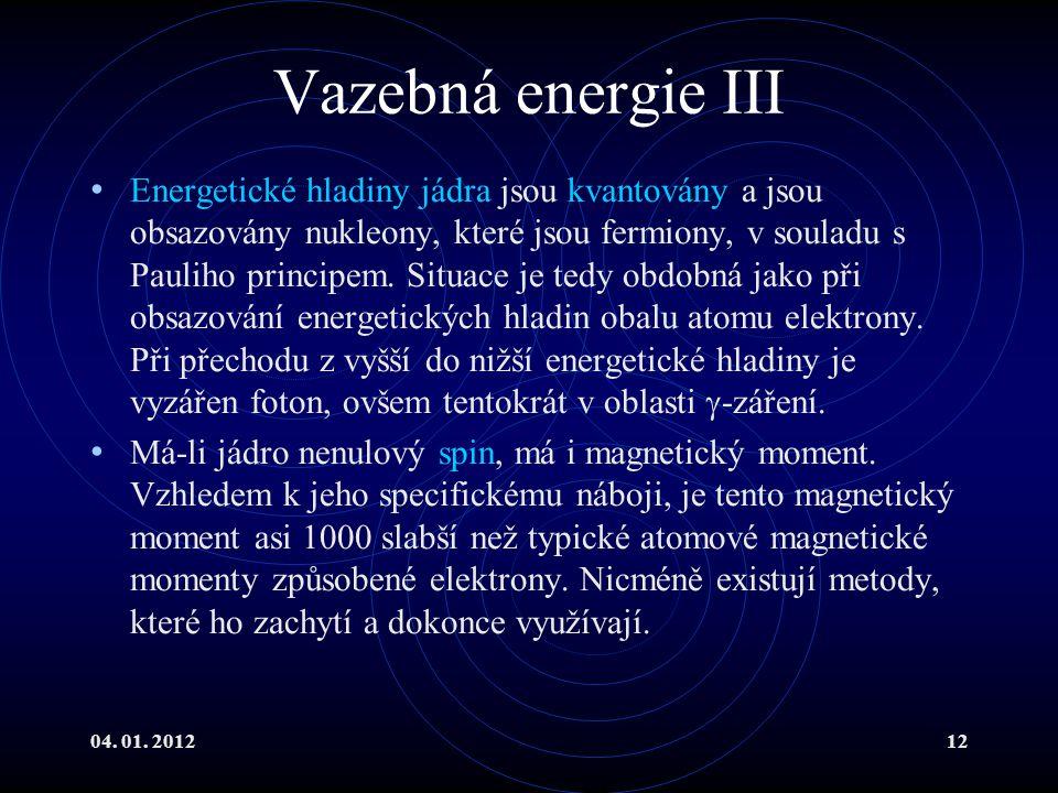 04. 01. 201212 Vazebná energie III Energetické hladiny jádra jsou kvantovány a jsou obsazovány nukleony, které jsou fermiony, v souladu s Pauliho prin