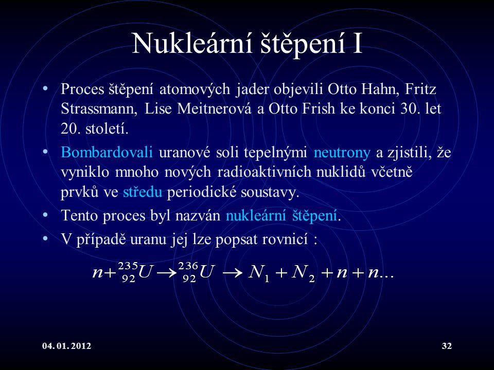 04. 01. 201232 Nukleární štěpení I Proces štěpení atomových jader objevili Otto Hahn, Fritz Strassmann, Lise Meitnerová a Otto Frish ke konci 30. let
