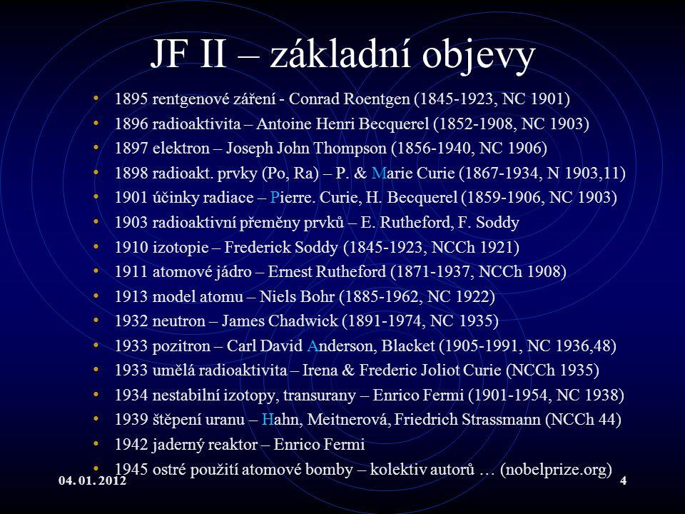 04. 01. 20124 JF II – základní objevy 1895 rentgenové záření - Conrad Roentgen (1845-1923, NC 1901) 1896 radioaktivita – Antoine Henri Becquerel (1852