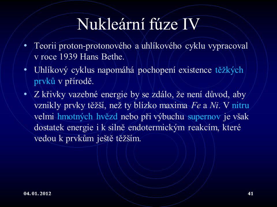 04. 01. 201241 Nukleární fúze IV Teorii proton-protonového a uhlíkového cyklu vypracoval v roce 1939 Hans Bethe. Uhlíkový cyklus napomáhá pochopení ex