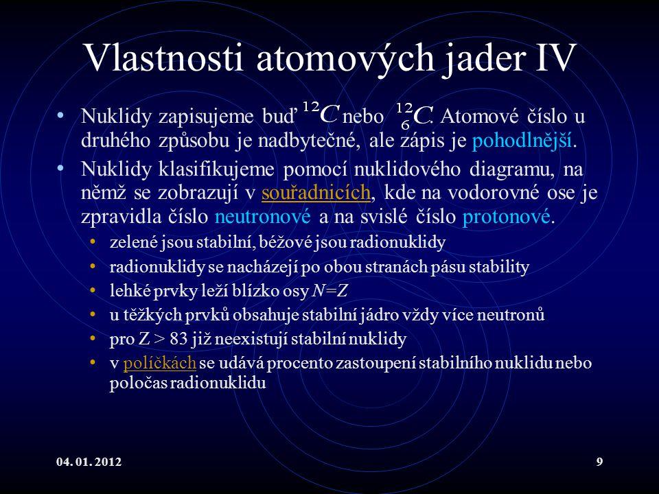 04. 01. 20129 Vlastnosti atomových jader IV Nuklidy zapisujeme buď nebo. Atomové číslo u druhého způsobu je nadbytečné, ale zápis je pohodlnější. Nukl