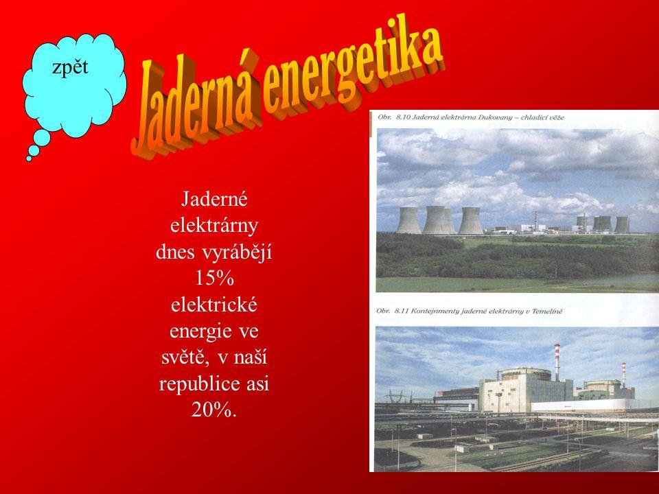 Jaderné elektrárny dnes vyrábějí 15% elektrické energie ve světě, v naší republice asi 20%. zpět