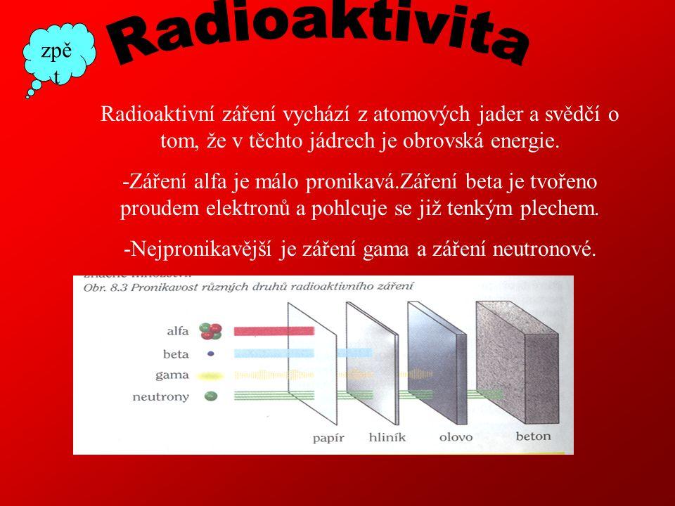 Radioaktivní záření vychází z atomových jader a svědčí o tom, že v těchto jádrech je obrovská energie.