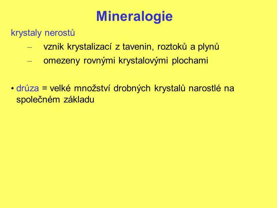 Mineralogie krystaly nerostů – vznik krystalizací z tavenin, roztoků a plynů – omezeny rovnými krystalovými plochami drúza = velké množství drobných krystalů narostlé na společném základu