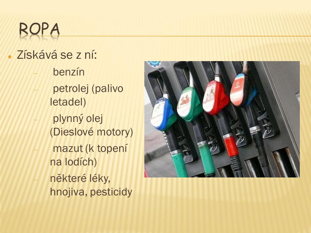 Získává se z ní: – benzín – petrolej (palivo letadel) – plynný olej (Dieslové motory) – mazut (k topení na lodích) – některé léky, hnojiva, pesticidy