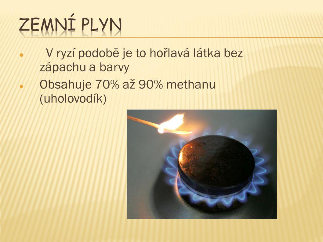 V ryzí podobě je to hořlavá látka bez zápachu a barvy Obsahuje 70% až 90% methanu (uholovodík)