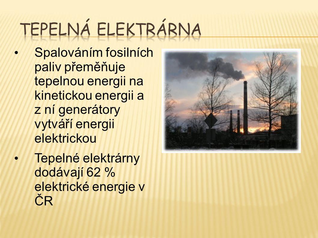 Spalováním fosilních paliv přeměňuje tepelnou energii na kinetickou energii a z ní generátory vytváří energii elektrickou Tepelné elektrárny dodávají