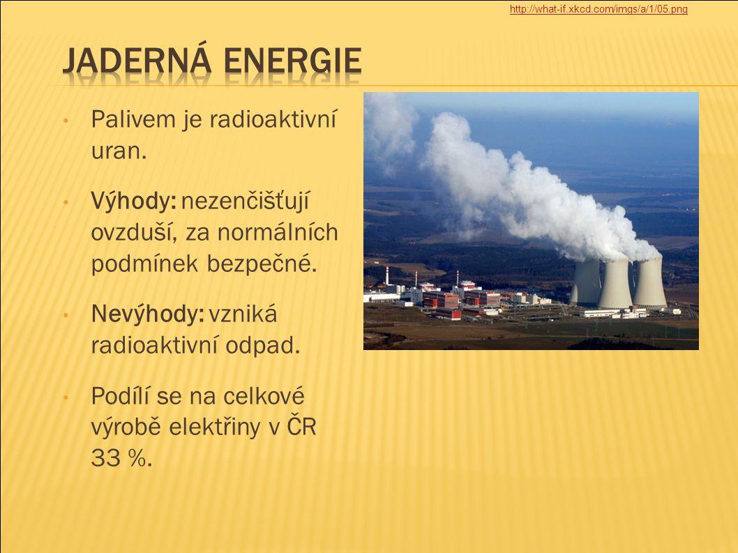 Palivem je radioaktivní uran. Výhody: nezenčišťují ovzduší, za normálních podmínek bezpečné. Nevýhody: vzniká radioaktivní odpad. Podílí se na celkové