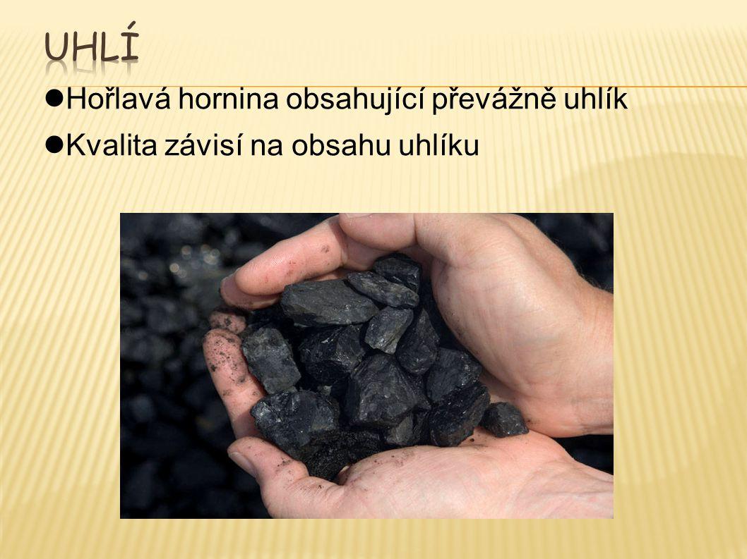 Hořlavá hornina obsahující převážně uhlík Kvalita závisí na obsahu uhlíku